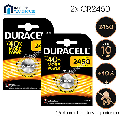 2 x Duracell CR2450 3V Lithium Coin Cell Battery Button 2450 DL2450 K2450L