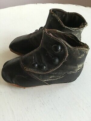 Antique Victorian 1800s High Top Button Up Black Leather Baby Doll Shoes Boots