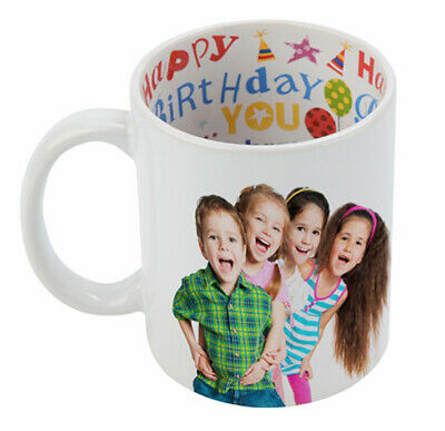 PERSONALISED COFFEE MUG CUP COLLAGE PHOTO - Inner Printed -Happy Birthday