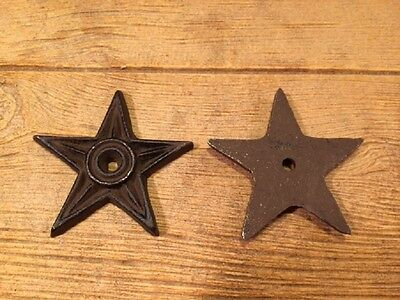 "Cast Iron Center Hole Star Anchor Plates 4"" Wide (Set of Two) Decor 0170-02107"