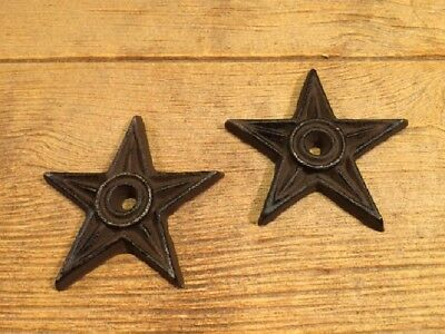 """Cast Iron Center Hole Star Anchor Plates Medium 4"""" Wide (Set of Two) 0170-02107"""