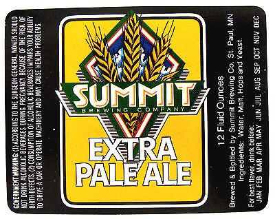 SUMMIT BREWING EXTRA PALE ALE beer label MN 12 oz NO UPC fd15ad903