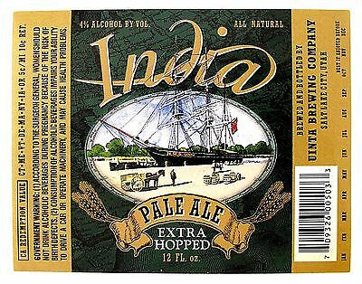 Uinta Brewing INDIA PALE ALE - EXTRA HOPPED beer label 12oz Var 1 green   591160ad4