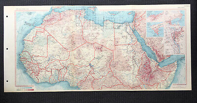 Map Of North Africa Algeria Egypt Sudan 1967 Large