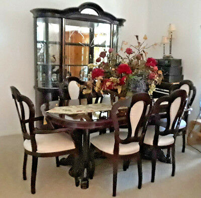 VINT DINING ROOM Set Lacquer China Cabinet Lights 6 Chairs Table Made In Italy