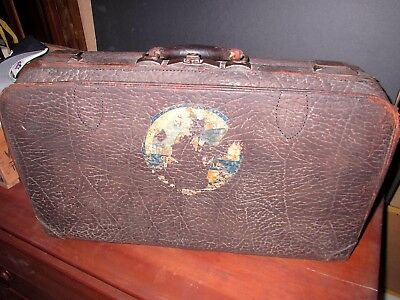 *antique (1925) Hartmann Brown 'walrus' Pebble Style Suitcase-One Family-Lovely*
