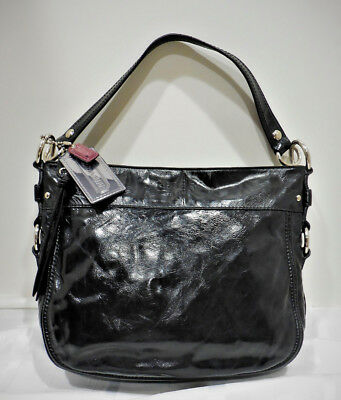 d3cb49bed9 COACH ZOE F15478 Black Patent Leather Hobo Style Shoulder Bag ...