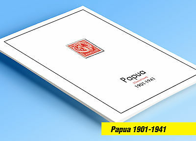 COLOR PRINTED PAPUA [CLASS.] 1901-1941 STAMP ALBUM PAGES (12 illustrated pages)