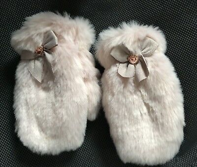 Pretty Ted BAKER P PINK FUR MITTS MITTENS 3-6 Yrs GLOVES VGC GORGEOUS WARM Coat
