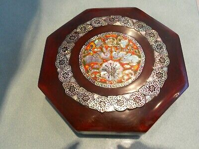 Vintage Octagonal Red Lacquered Japanese (?) Bento Box Inlaid Mother Of Pearl