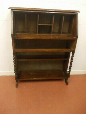 OAK ANTIQUE DESK 1930'S BARLEY TWIST SUPPORTS pigeon holes MISSING FALL FRONT