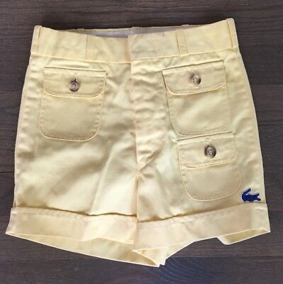 Vtg Lacoste Izod Yellow Alligator Pocket Spring Summer Shorts 4/5
