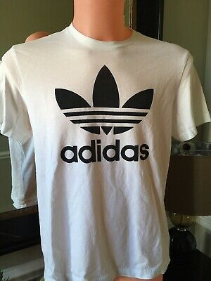 c11fbb39005 Adidas Men s Size Large White Short-Sleeve Trefoil Logo Graphic T-Shirt Nice