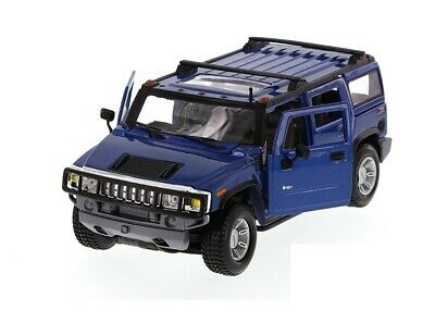 Maisto 1/27 Scale Hummer H2 SUV w/ Sunroof Diecast Model Toy Car BLUE 7 inch