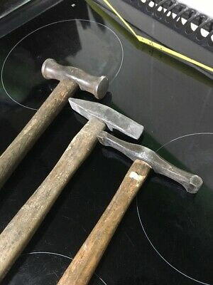 VINTAGE PANEL BEATING HAMMER SMALL FORGE TOOL KIT Copper Tin Smith Ect @nr X3