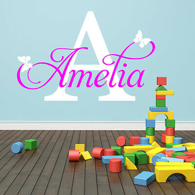 WALL STICKERS  Personalised Name Initial Custom Girls Boys Wall Quotes 🍎N145💓