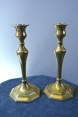 Vintage Early 20th Century Pair Brass Candlesticks Candle Holders C. 1920s