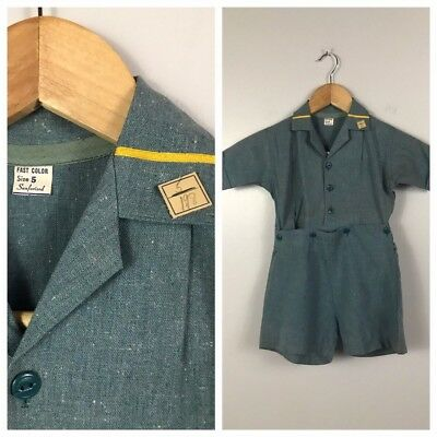 Vintage NOS Unworn 1940s 1950s Blue Green Flecked One Piece Romper Little Boys