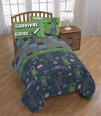 Minecraft Twin Bedding Set Boys Comforter Teen Creeper Bed In A Bag Sheets Tote