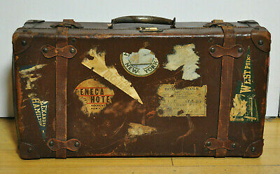 Antique Leather 24 x 13 x 7 Suitcase w Travel Labels Decor Storage
