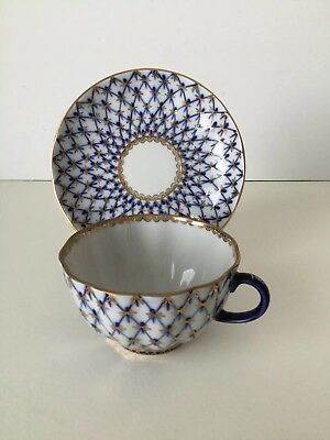 Beautiful Lomonosov Cobalt Blue And Gold Cup And Saucer