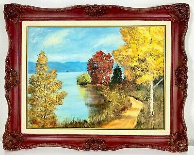 Vintage Oil Painting Landscape - Signed L. Smith on Board - Beautiful Fall Trail