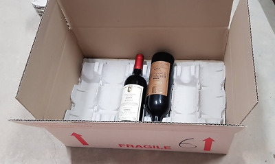 10 x Wine cardboard Boxes Lay Flat Wine WITH INSERTS for 12 bottles per box