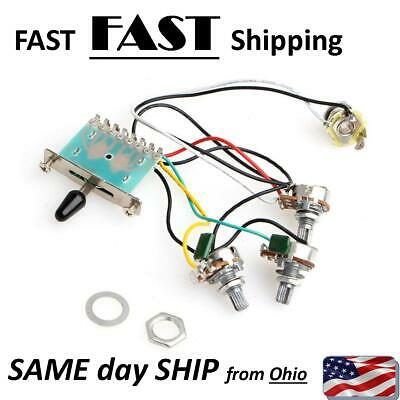 5 Way Switch Strat Stratocaster Guitar 250k Pots Knobs Wiring Harness Pre wire