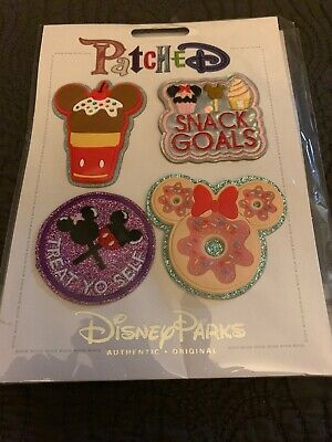 Disney Parks Exclusive Disney Foods Snack Goals Treat Yo Self 4 Patch Set New