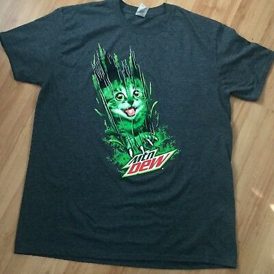 5bfebe7afb1 Mountain Dew Mtn Dew Kitty Cat Ripping Through Graphic T-Shirt XL Pepsi Cola