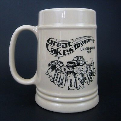 Vtg Great Lakes Dragaway Beer Stein Mug Union Grove Mud Drags Racing 16 oz