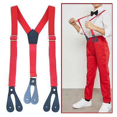 20mm Wide Childrens Kids Plain Elasticated Suspender Braces Adjustable Trousers