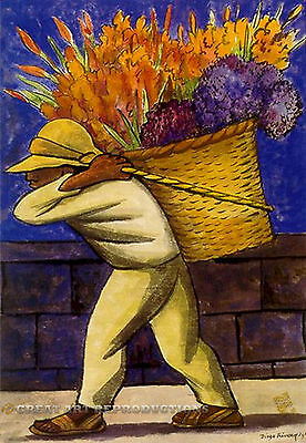 """""""Flower Carrier"""", Diego Rivera Reproduction in Oil, 36""""x26"""""""