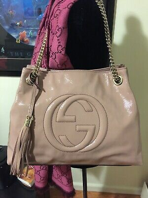 a2623d73edd5 GUCCI PATENT SOHO Chain Bag Tote Hobo Blush Marmont Pink Nude ...
