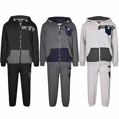 Kids DL Project Hoodie Contrast Button Fleece Jogging Sweatshirt Full Tracksuit