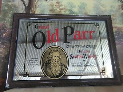 old Parr whisky framed bar mirror