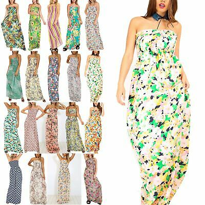 Ladies Womens Floral Printed Boobtube Bandeau Sheering Ruched Flared Maxi Dress