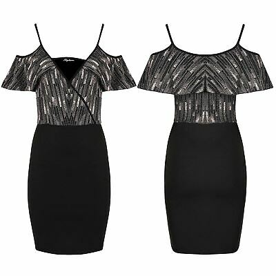 Women Ladies Glitter Strappy Frill Front Wrap V Neck Cold Shoulder Bodycon Dress