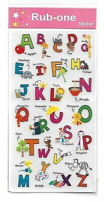 1 sheet of kids rub-on transfers/stickers - Alphabet designs - party favours
