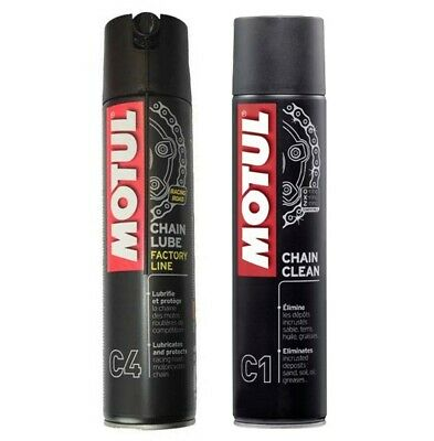 Kit pulisci lubrifica catena Motul C4 CHAIN LUBE 400ml + C1 CHAIN CLEAN 400ml