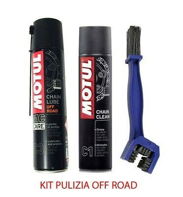 Kit pulisci lubrifica catena Motul C1 + C3 Chain Lube OFF Road + Spazzola