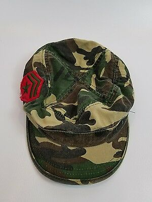 Cadet Box CAMO OLIVE Army Military CAP HAT Distressed Vintage Look Fashion-rank