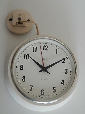 Vintage Smiths white Sectric Electric wall clock