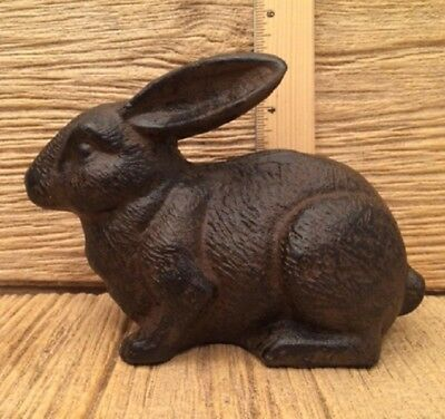"Rabbit Bunny Cast Iron Rust Color 7 1/2"" Door Stop Statue Figurine 0170-04669"
