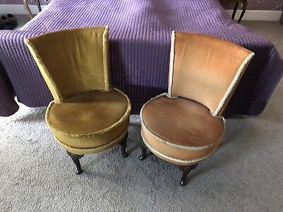 Pair of Vintage Mid Century Parlour Chairs Retro 1950s Bedroom Chairs