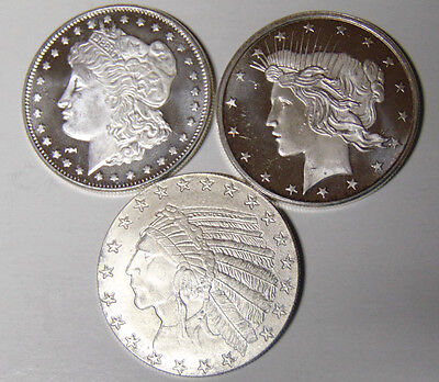 Lot of 3 Silver Rounds 1 oz .999 Fine Morgan Dollar Peace Dollar Indian Styles