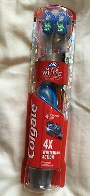 Colgate 360 Max White One Platinum 2 Head Battery Toothbrush BLUE BNIB Sealed UK
