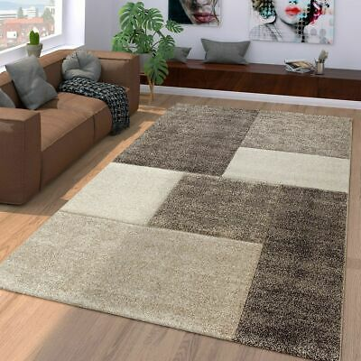 Modern Rug Living Room Contemporary Geometric Carpet Small Large Mat Brown Beige