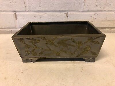 Antique Chinese Pewter/Paktong Planter with Floral and Bird Decorations