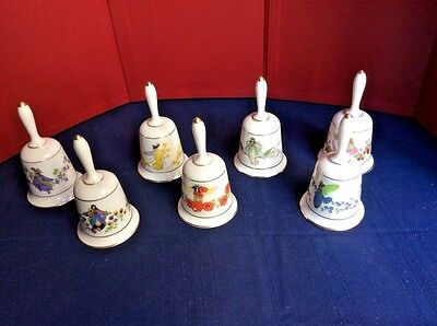 "7 Porcelain Bells -Fine Bone China Trimmed in Gold -"" Bells are Ringing""-new"